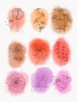 Coleção de rabiscos em aquarela de flores desenhadas à mão
