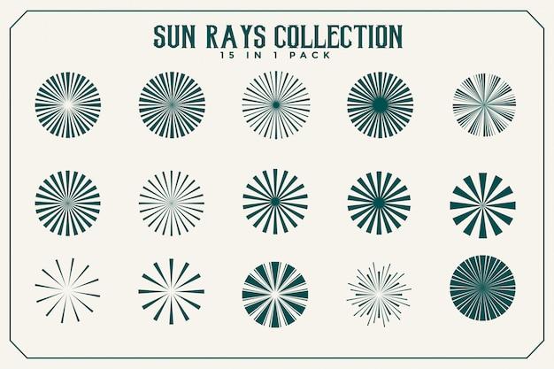 Coleção de raios e feixes de sol de quinze