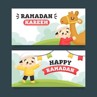 Coleção de ramadã com ilustração de menino bonito