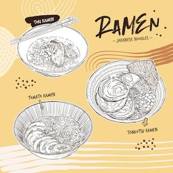 Coleção de ramen, mão desenhar desenho vetorial.