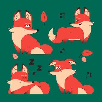 Coleção de raposa desenhada à mão
