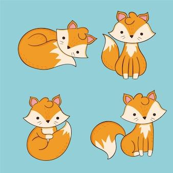 Coleção de raposa desenhada de mão