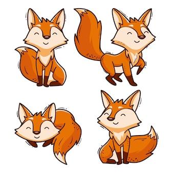 Coleção de raposa desenhada dos desenhos animados