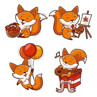Coleção de raposa desenhada