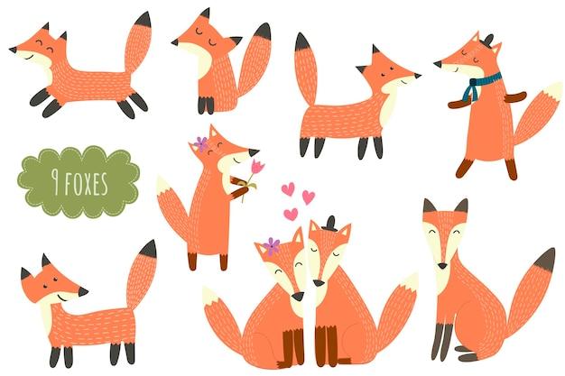 Coleção de raposas bonitinha. conjunto de animais da floresta dos desenhos animados.