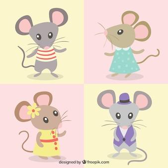 Coleção de ratos cartoon