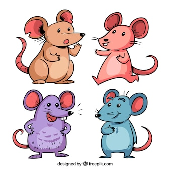 Coleção de ratos desenhados mão