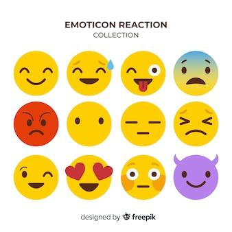 Coleção de reação de emoticon de design plano