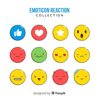 Coleção de reação plana emoticon