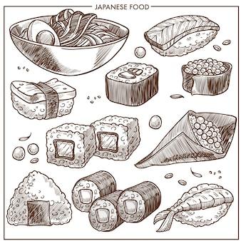 Coleção de receita de culinária japonesa