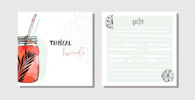 Coleção de receitas de cartões de cozinha definir modelo com frasco de vidro de bebida de água de desintoxicação, limões e folhas de palmeira tropical isoladas no fundo branco.