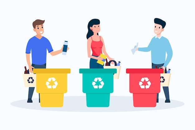 Coleção de reciclagem de pessoas