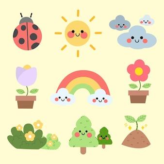 Coleção de recursos da ilustração de personagens da estação fofa verão primavera