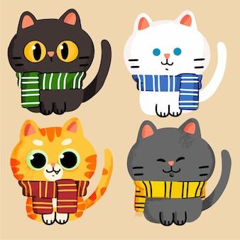 Coleção de recursos de ilustração de doodle de mascote de gatos adoráveis