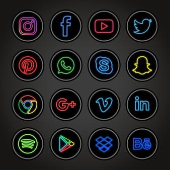 Coleção de redes sociais de néon