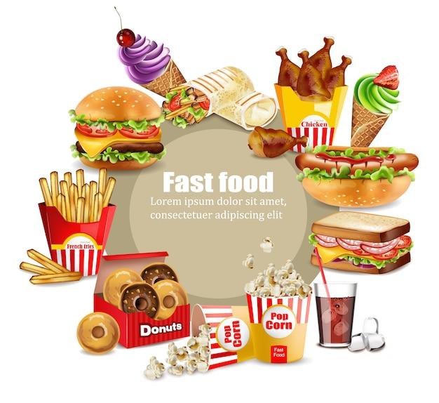 Coleção de refeição grande de fast food