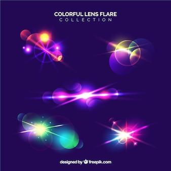 Coleção de reflexo de lente colorida