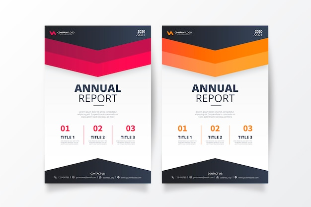 Coleção de relatório anual de negócios profissional moderno