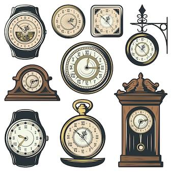 Coleção de relógios clássicos coloridos
