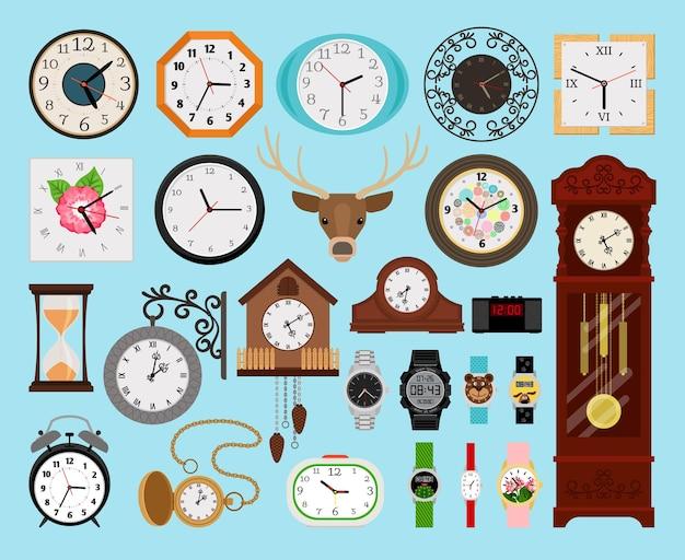 Coleção de relógios. ilustração do conjunto analógico de relógio de parede antigo e de madeira e ponteiros digitais, ampulheta e cronômetro eletrônico