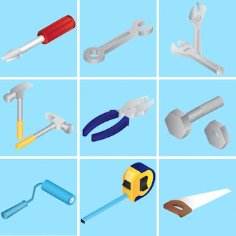 Coleção de reparação de ferramentas ou objetos em azul