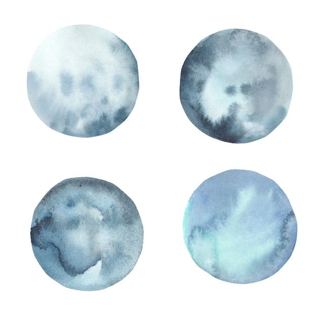 Coleção de respingo aquarela, lua