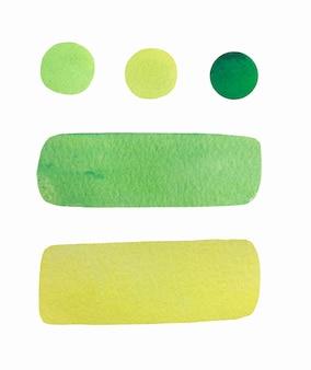 Coleção de respingo verde aquarela mão desenhada.