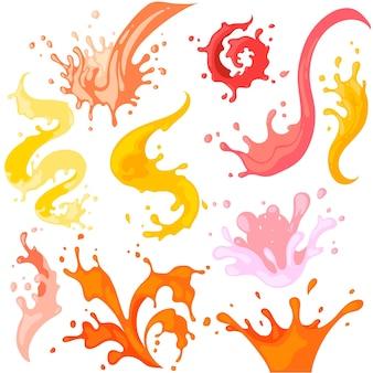 Coleção de respingos coloridos e design fluido em espiral