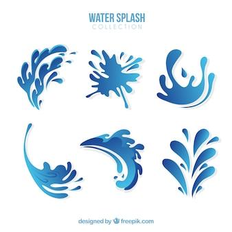 Coleção de respingos de água em estilo simples