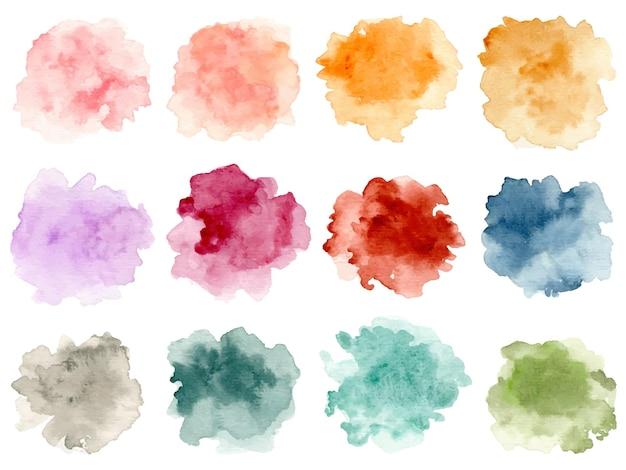 Coleção de respingos de aquarela abstrata colorida