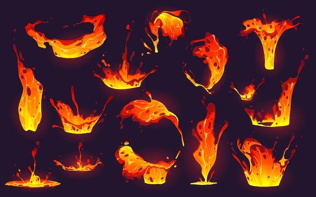 Coleção de respingos de lava de desenhos animados
