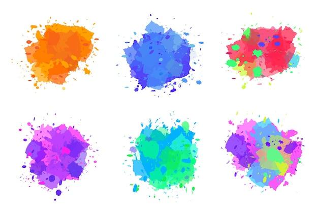Coleção de respingos de tinta respingos de aquarela