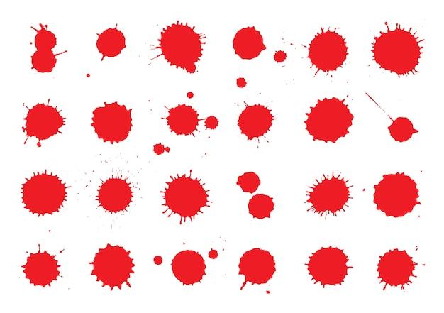 Coleção de respingos de tinta vermelha