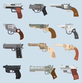Coleção de revólveres de armas.