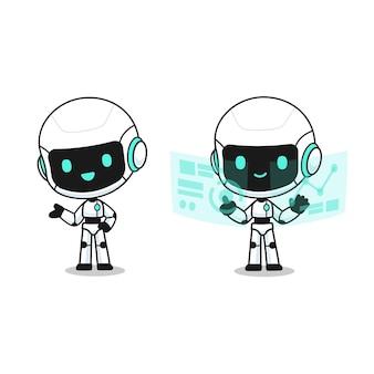 Coleção de robô fofo em muitas ações, personagem mascote kawaii para ilustração
