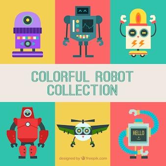 Coleção de robôs coloridos desenhados a mão