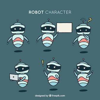 Coleção de robôs desenhados a dedo