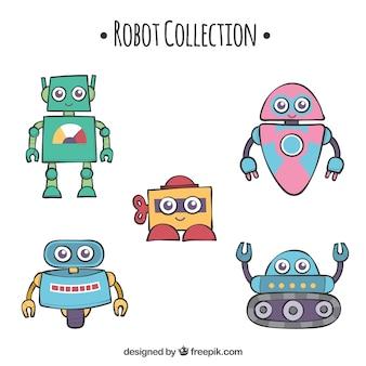 Coleção de robôs desenhados a mão com diferentes poses
