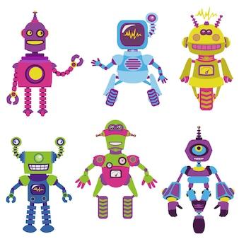 Coleção de robôs fofa
