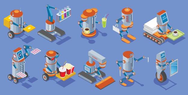 Coleção de robôs isométricos com carteiro médico bar correio serviço de hotel cinema limpador construtor trabalho doméstico assistentes robóticos mecânicos isolados