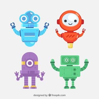 Coleção de robôs planos com diferentes poses