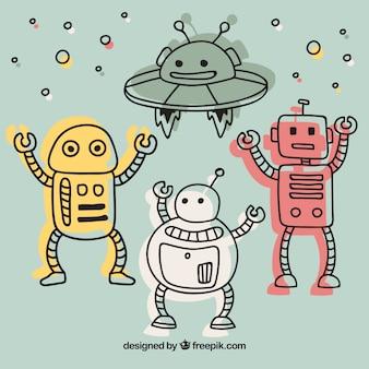 Coleção de robôs planos