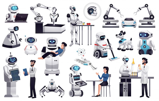 Coleção de robôs realistas