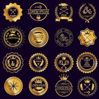 Coleção de rodada do vintage emblemas de ouro
