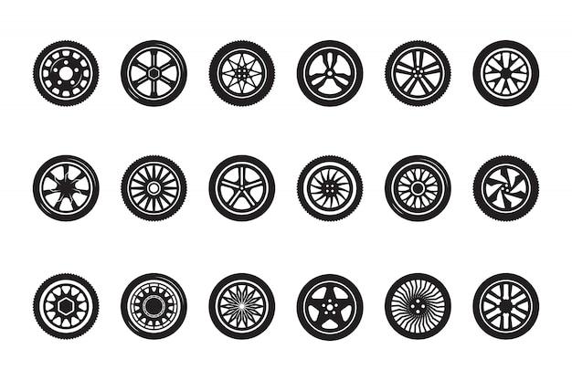 Coleção de rodas de carro. fotos de rodas de veículos de corrida com silhuetas de pneus de automóveis