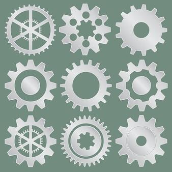 Coleção de rodas de engrenagem metálicas
