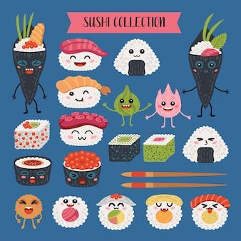 Coleção de rolos de kawaii e personagens de desenhos animados de sushi.