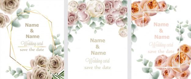 Coleção de rosas aquarela de grinalda de casamento