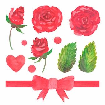 Coleção de rosas vermelhas em aquarela