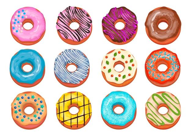Coleção de rosquinhas sortidas. vista superior de donuts doces com cobertura azul, chocolate e morango. ilustração de desenho animado